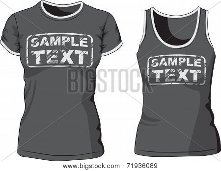 Blank Women's t-shirt and singlet. Vector