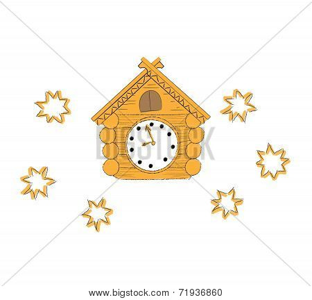 vector illustration  wooden cuckoo clock