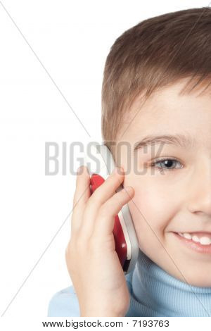 Smiling Boy With Mobile Phone