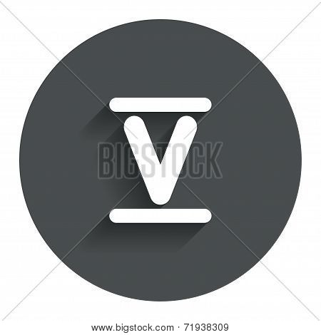 Roman numeral five icon. Roman number five sign.