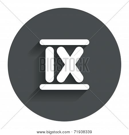 Roman numeral nine icon. Roman number nine sign.