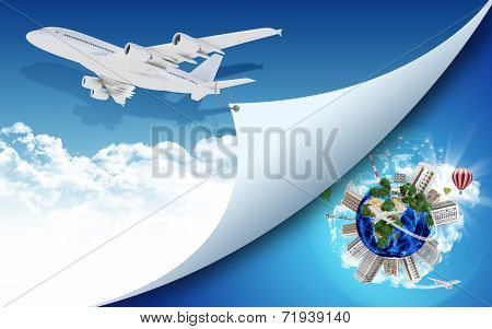 Airplane and Earth with buildings