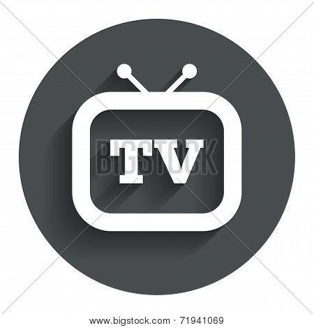 Retro TV sign icon. Television set symbol.