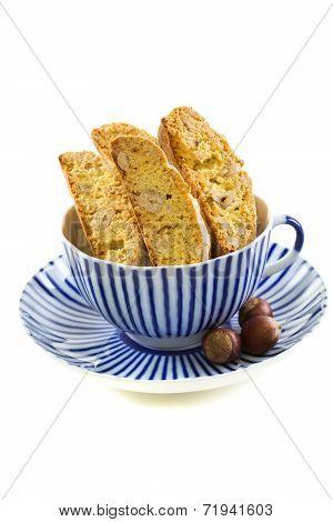 Biscotti In Striped Teacup.