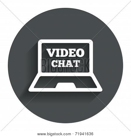 Video chat laptop sign icon.