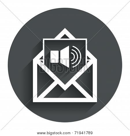 Voice mail icon. Speaker symbol. Audio message.