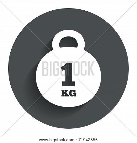 Weight sign icon. 1 kilogram (kg). Mail weight