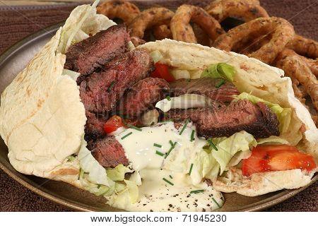 Grilled Steak In Pitta Bread