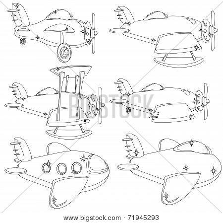 A Set of Different Planes Contour. Vector.