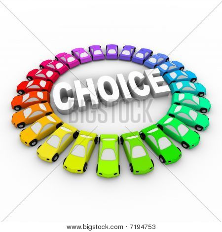 Choice - Colored Cars Around Word