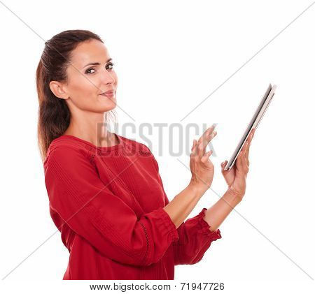 Smart Young Lady Using Her Tablet Pc