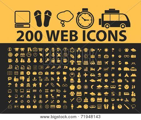 200 website internet icons, signs, illustrations, silhouettes set, vector