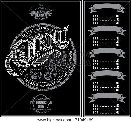 Pattern For Menu Pizza Over Black Background And Calligraphy
