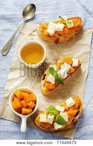 Bruschetta With Honey Pumpkin And Goat Cheese