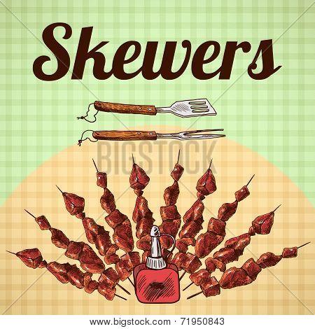 Skewers sketch poster
