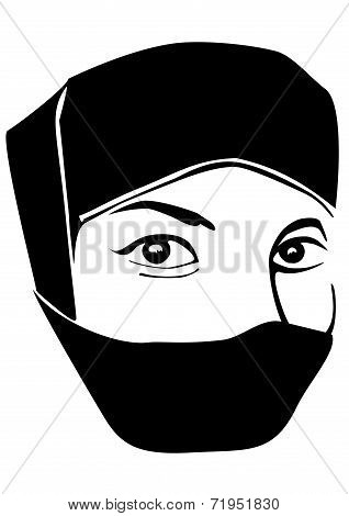 Muslim woman portrait with scarf on face