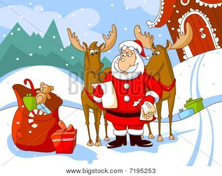 Santa Claus with his deers reads a letter