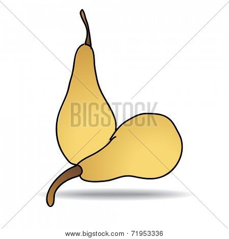 Freehand drawing pear icon - vector eps 10 illustration