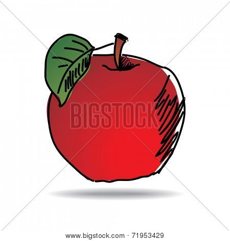 Freehand drawing apple icon - vector eps 10 illustration