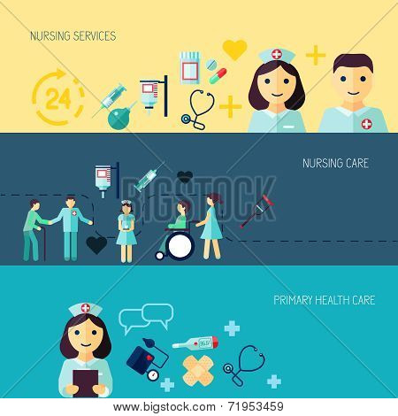 Nurse icon banner set
