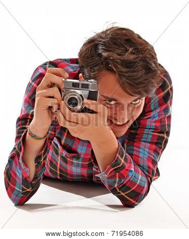 Photographer taking picture.Photographer portrait,Journalist.Hidden paparazzi.
