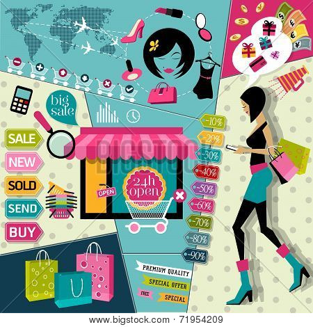 Set of Flat design vector illustration concepts icons and fashion symbols of online woman shopping a