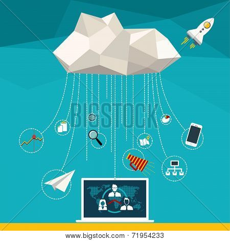 Flat vector illustration web concept of cloud computer and connected mobile devices with links of cl
