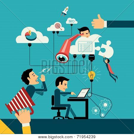 Flat design vector illustration concept of computer and connected mobile devices with links of trans