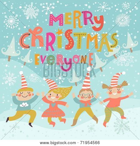 Stylish and bright Merry Christmas card in vector. Funny Elves dancing under the snowfall. Cute holiday background with boys and girls