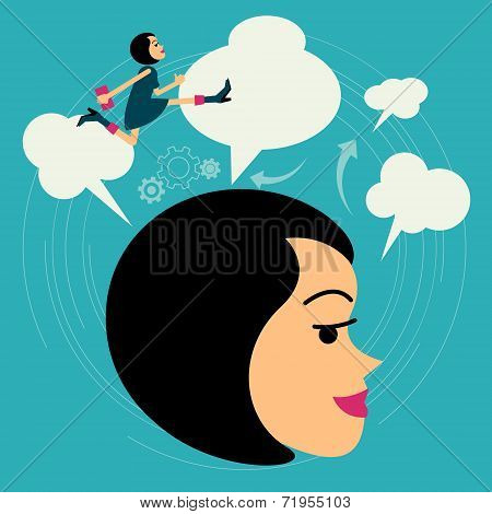Flat style vector business woman growth concept. Beyond Imagination New business banner. Graphic Des