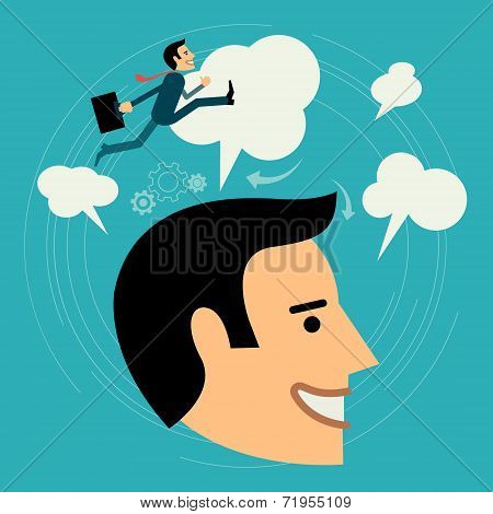 Flat style vector business man growth concept. Beyond Imagination New business banner. Graphic Desig
