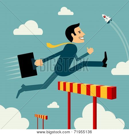 Flat style vector business man growth concept. Skip obstacle to success. New business Start up unusu