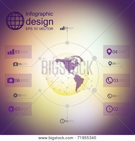 infographic with unfocused background and icons set for business design vector