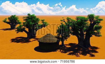 African village With baobabs and hut