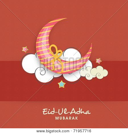 Muslim community festival Eid-Ul-Adha Mubarak with beautiful moon wrapped in yellow ribbon and clouds.