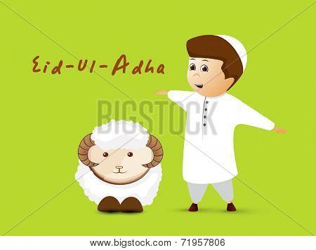Muslim community festival Eid-Ul-Adha celebrations with cute little boy and sheep on green background.