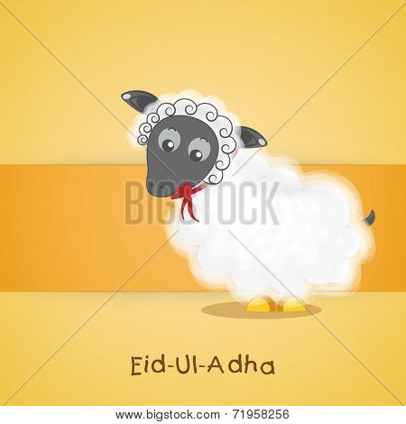Muslim community festival of sacrifice Eid-Ul-Adha greeting card or background with sheep on yellow background.