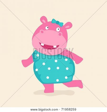 Dancing hippopotamus in stylish modern clothes on beige background.