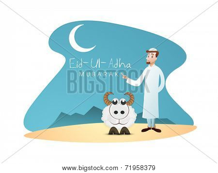 Creative Muslim community festival Eid-Ul-Adha celebrations with young religious man indication towards moon and sheep in night background.