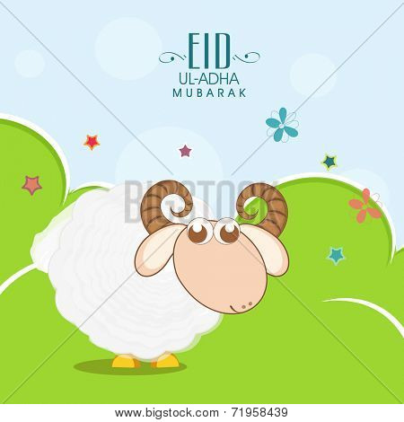 Muslim community festival of sacrifice Eid-Ul-Adha greeting card design with sheep on nature background.