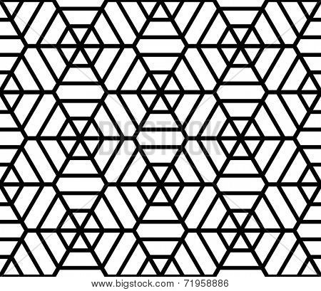 Hexagons latticed texture. Seamless geometric pattern. Vector art.