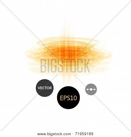Abstract technology laser pulse shot or plasma bullet, circles energy and geometric digital light