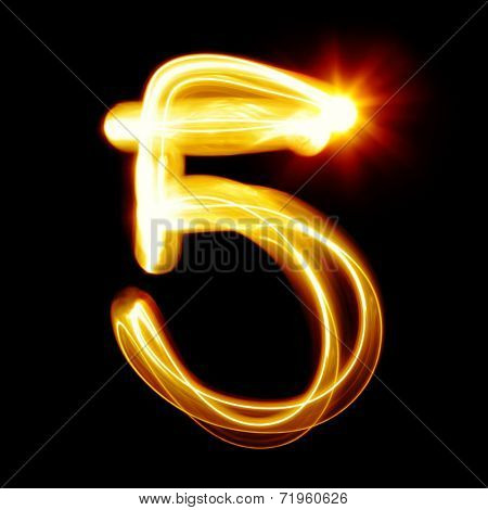 Five - Created by light numerals over black background