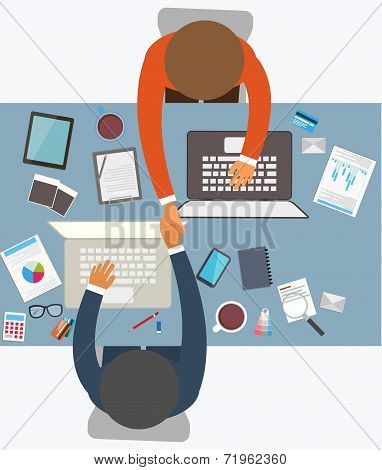Flat design style of business meeting, office worker