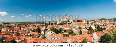 Beautiful town of Mikulov with a castle South Moravia, Czech Republic. Panorama
