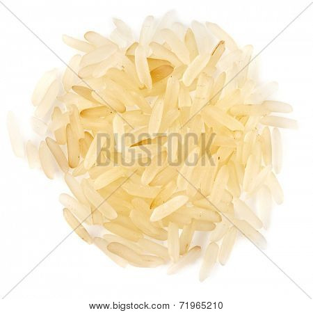 Elite Gold Rice Basmati  top view surface close up isolated on white background