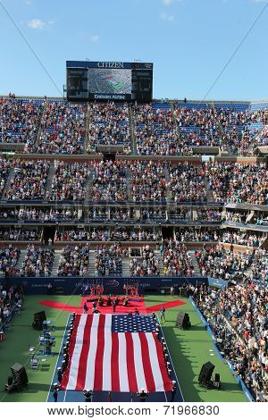 US Marine Corps unfurling American Flag  during the opening ceremony of the US Open 2014 women final