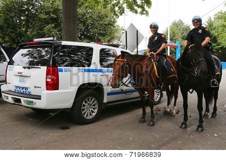 NYPD police officers on horseback ready to protect public at Billie Jean King National Tennis Center