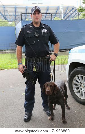 NYPD transit bureau K-9 police officer and Labrador K-9 Ellis providing security at US Open 2014