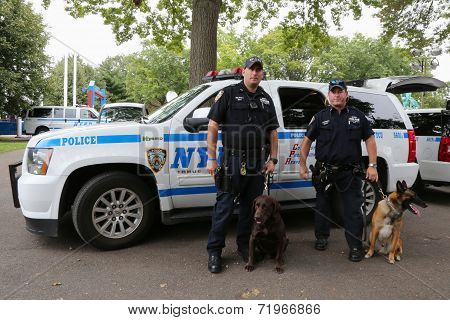 NYPD transit bureau K-9 police officers and K-9 dogs providing security at National Tennis Center